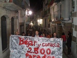 Cabecera de la manifestación en Béjar de la Huelga General del 14N.