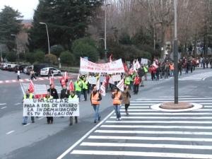 Manifestación de los trabajadores de Unisolar en La Corredera de Béjar