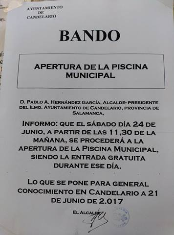 El sábado abrirá la piscina de Candelario con jornada gratuita