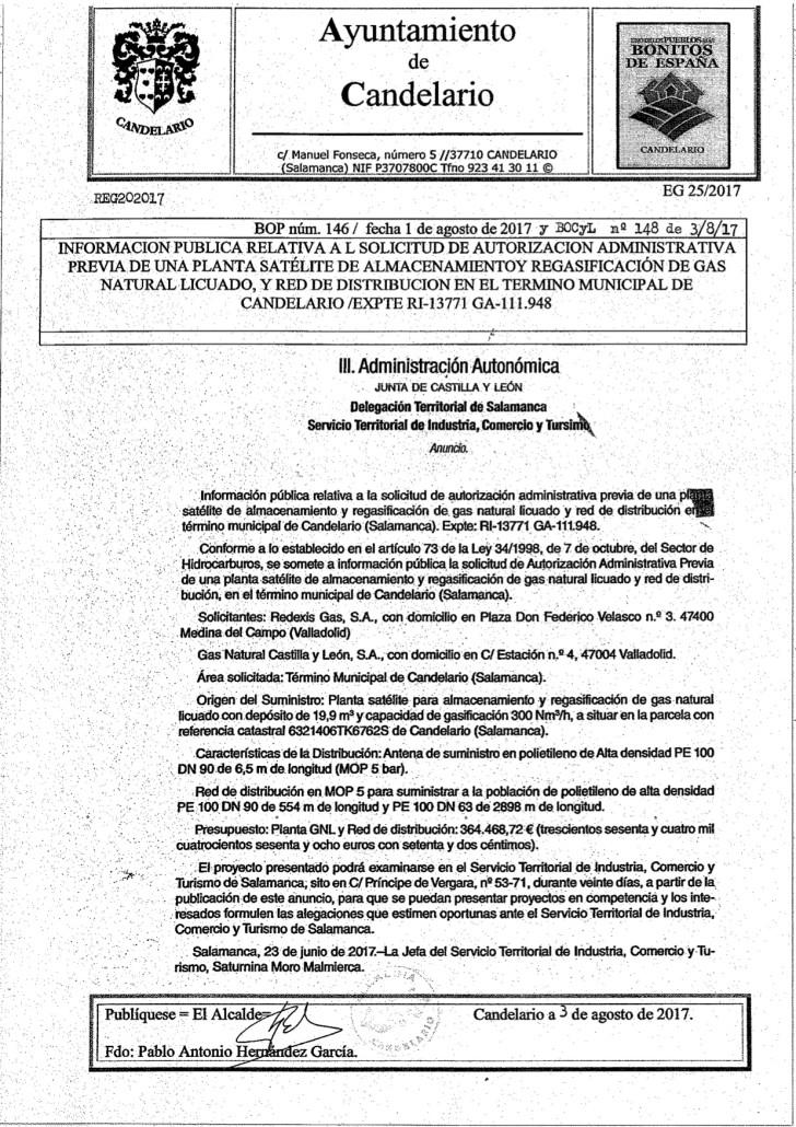 Solicitud para instalar una planta satélite de almacenamiento y distribución de gas natural licuado en Candelario