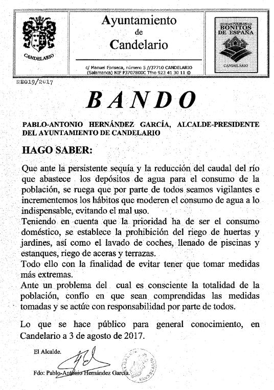 Llegan las restricciones de agua a Candelario