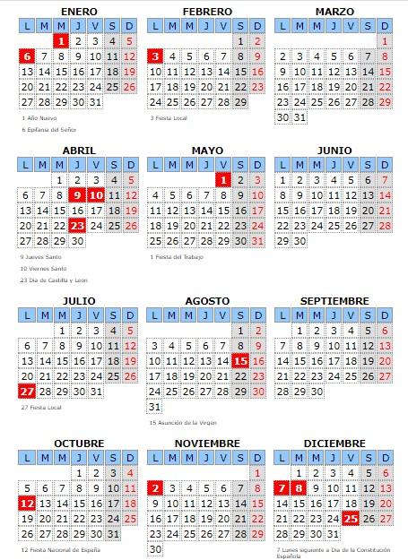 Calendario laboral Candelario
